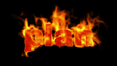 burning 3D plan word,business fire key words Animation