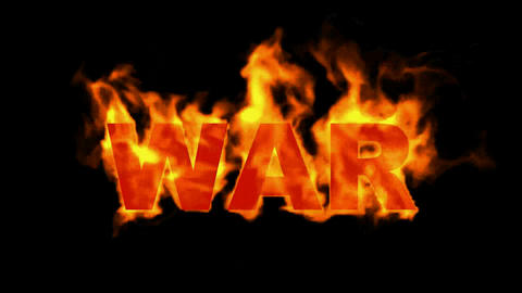 fire war text,fire word Animation