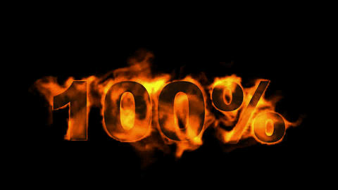 Sale 100%,burning hundred Percent,fire text Stock Video Footage