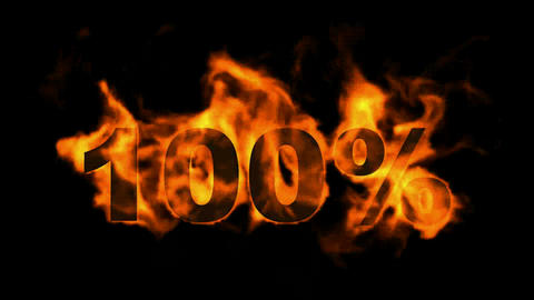 Sale 100%,burning hundred Percent,fire text Animation