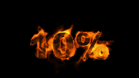 Sale Off 10%,burning ten Percent Off,fire text Stock Video Footage