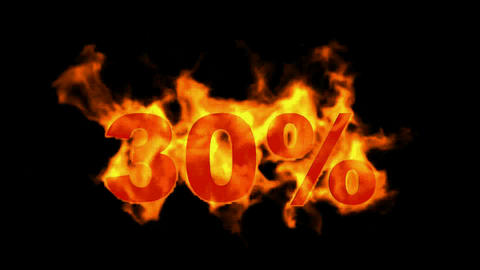 Sale Off 30%,burning thirty Percent Off,fire text Stock Video Footage