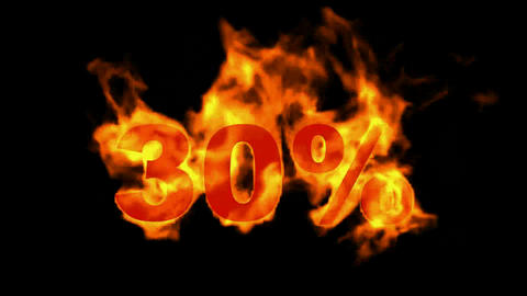 Sale Off 30%,burning thirty Percent Off,fire text Animation