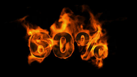 Sale Off 60%,burning sixty Percent Off,fire text Animation