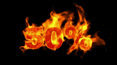 Sale Off 50%,burning fifty Percent Off,fire text Animation