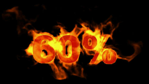 Sale Off 60%,burning sixty Percent Off,fire text Stock Video Footage