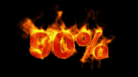 Sale Off 90%,burning ninety Percent Off,fire text Stock Video Footage