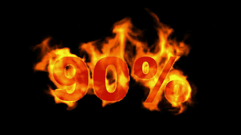 Sale Off 90%,burning ninety Percent Off,fire text Animation
