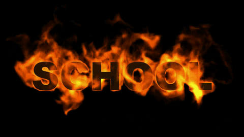 burning school word,fire text Animation