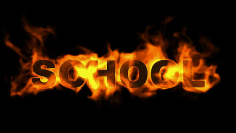 burning school word,fire text Stock Video Footage