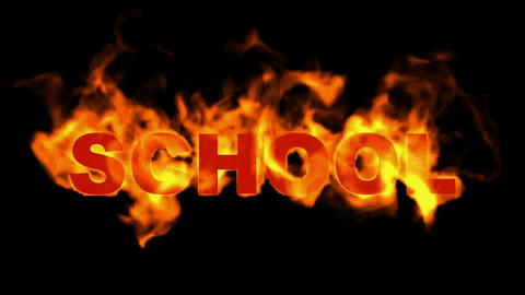 burn school word,fire text Animation