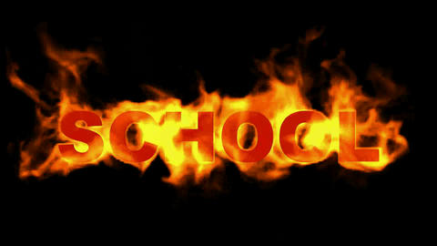 burn school word,fire text, Stock Animation