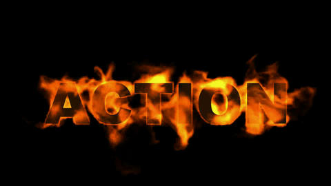 action text.burning business fire word Stock Video Footage