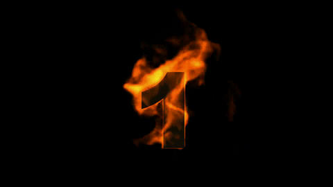 burning numbers 1,flames on black background Animation