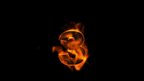 burning numbers 3,fire on black background Stock Video Footage