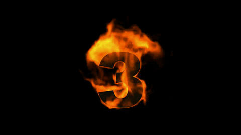 burning numbers 3,fire on black background Animation