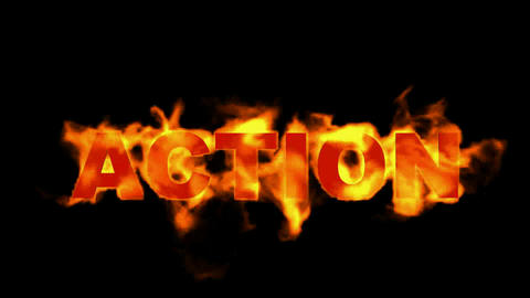 action text,burning business fire word Stock Video Footage