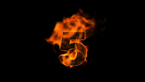 burning numbers 5,flames on black background Animation