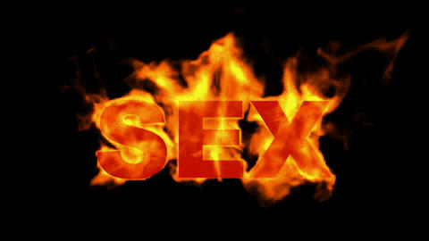 burn sex word,fire text Animation