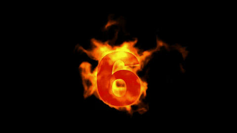burning fire numbers 6 Stock Video Footage