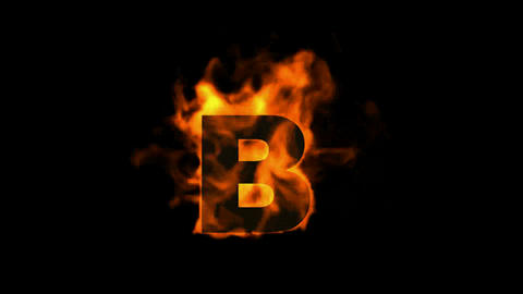 fire letter B,uppercase Animation