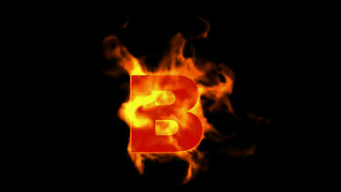 fire letter B,uppercase Stock Video Footage