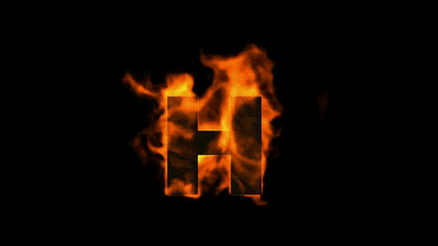 fire letter H,uppercase Animation