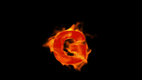 fire letter G,uppercase Stock Video Footage