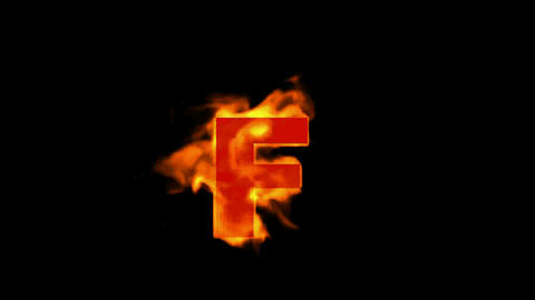 fire letter F,uppercase Stock Video Footage
