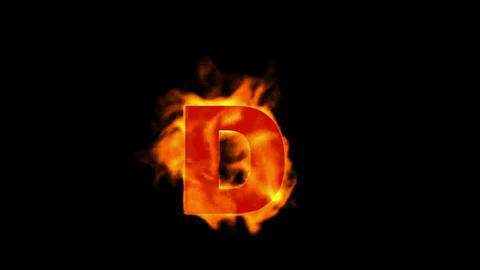 fire letter D,uppercase Stock Video Footage