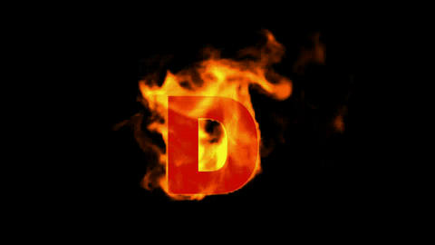 fire letter D,uppercase Animation