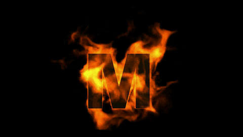 fire letter M Stock Video Footage