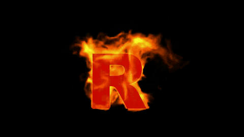 fire letter R Animation