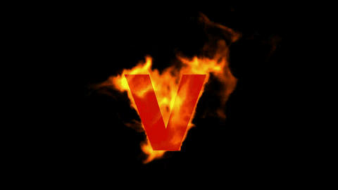 fire alphabet V Stock Video Footage