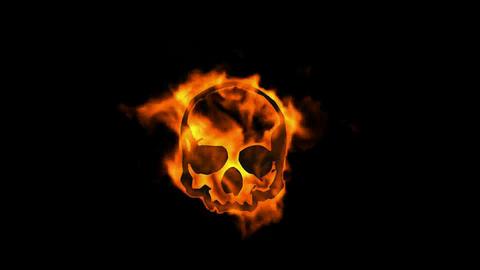 burning fire skull symbol Stock Video Footage