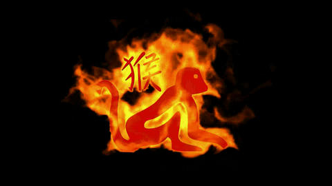 chinese zodiac of fire monkey and handwriting chinese kanji,china tradition festival Animation