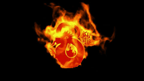 chinese zodiac of fire dragon and handwriting chinese kanji,china tradition festival Animation
