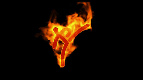 burning fire taekwondo athlete symbol Animation