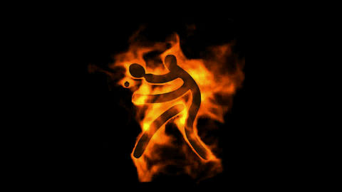 burning fire ping-pong player sign,table tennis athlete... Stock Video Footage