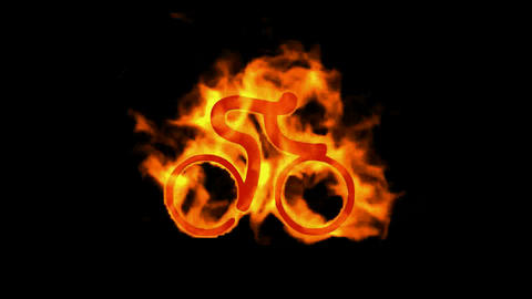 burning fire bicycle sport silhouette Animation