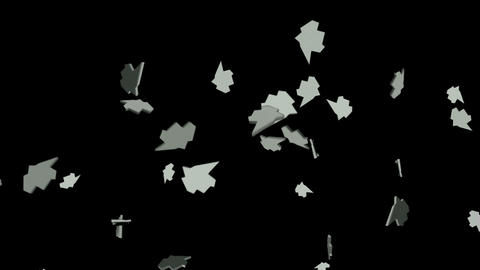 metallic leaf falling,broken silver shatter.Design,pattern,particle,symbol,dream,vision,idea,creativ Animation