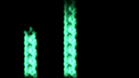 Three green laser beams beat,rays light chain Animation