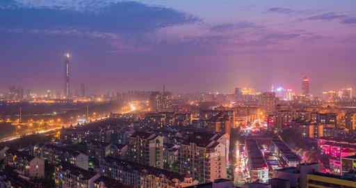 4K Day to Night Time Lapse China Cityscape ภาพวิดีโอ