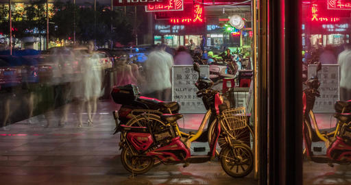 4K Time Lapse of China Shopping Street at Night Footage