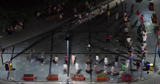 4K Chinese People Doing Aeorboics - Night Time Lapse Footage