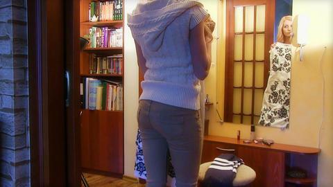 Girl Tries On A Dress Videos de Stock