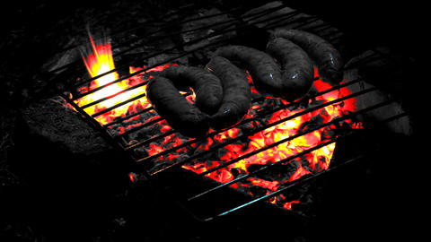 Frying Dinner At Open Fire stock footage