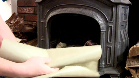 Building Fire In Wood Stove; Add Paper stock footage