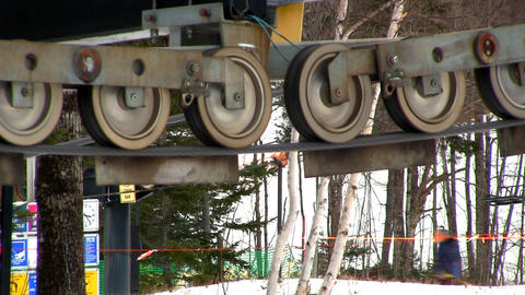 Ski Lift Cable Pulleys stock footage