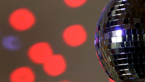 Half Mirror Ball; Red And Blue Light stock footage